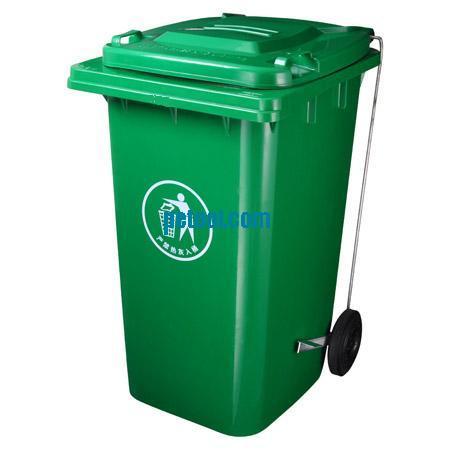 国产带脚踏塑料可移动垃圾桶(240l)