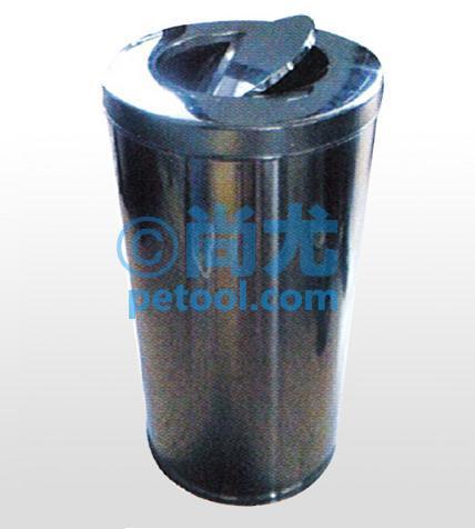 此款圆形摇盖式钢制垃圾桶