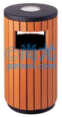 国产带灭烟槽圆柱形钢木垃圾桶(Φ400/450*h800mm)