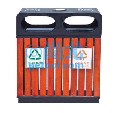 国产方形带烟灰缸钢木垃圾桶(l700*w350*h880mm)