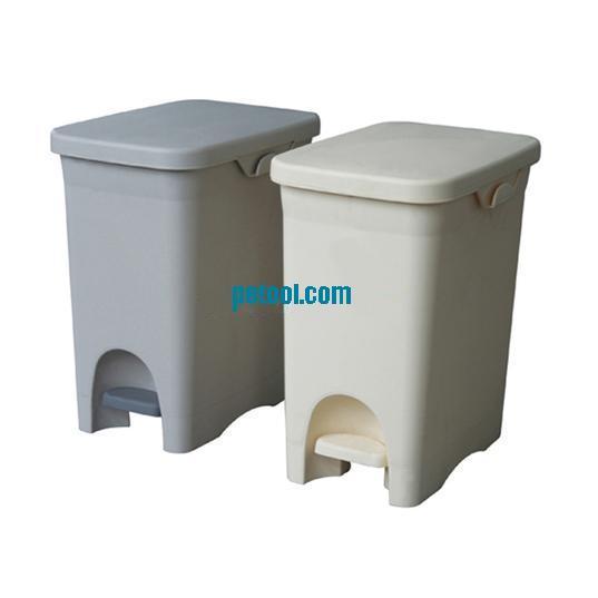 国产灰/白色塑料脚踏垃圾桶(30l)