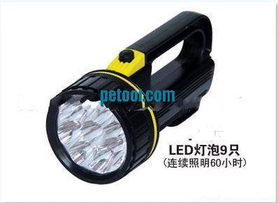 国产黑色手提式塑料外壳强光9led探照灯(500m)