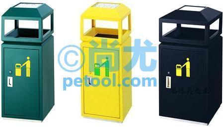国产带灭烟槽方形户外金属垃圾桶
