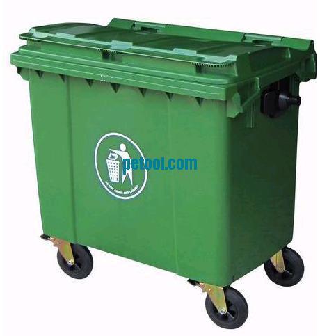 国产绿色高密度聚乙烯垃圾桶/垃圾车(660l)