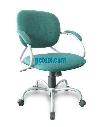 绿色布料可升降旋转工作椅